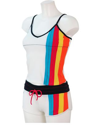 Sergio Tacchini Shorts & Strappy Vest Two Piece with Multicolour Stripes - XS/S