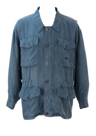 Blue 100% Silk Utility Cargo Jacket - M/L
