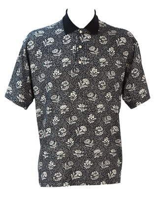 Black Polo Shirt with Intricate White Floral Pattern - L/XL