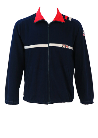 Vintage 80's Fila BJ Navy Blue Track Jacket with Red & White Stripes - M