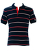 Fila Navy Blue Polo Shirt with Red & White Stripes - S