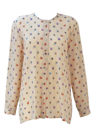 Beige Long Sleeved Blouse with Red, Blue & Purple Ditsy Floral Pattern - M/L