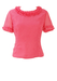 Vintage 60's Short Sleeved Pink Top with Frill Neckline and Sleeves - M