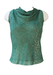 Vintage 60's Pierre Cardin Sleeveless Top with Jade Green & Metallic Gold Floral Pattern - S/M