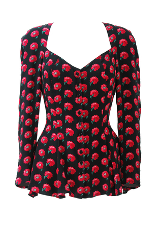Vintage Pancaldi & B Black Silk Blouse with Peplum Detail & Red Floral Pattern - S/M