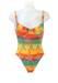 Yellow, Orange & Green Striped Backless Swimsuit with Multicoloured Graphic Pattern - XS/S