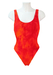 Orange Tie Dye Swimsuit with Ribbed Detail and Scoop Back - M