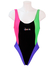 'Lifesaver' Block Colour Swimsuit in Black, Green, Pink & Purple with Scoop Back - XS/S