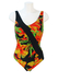 Black, Ruche Detail Swimsuit with Orange, Yellow & Green Tropical Floral Print - L