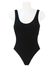 Black Textured Stripe Swimsuit with Scoop Back - S/M