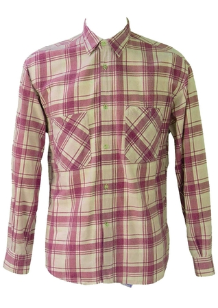 Purple and White Checked Flannel Shirt - L