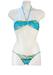 Brazilian Style Bikini with Blue, Yellow & White Hawaiian Pattern - XS/S