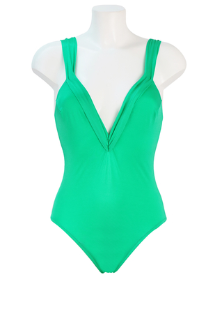 Turquoise Green Swimsuit with Plunge Neckline & Open Back with Decorative Knot - M