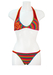 Multi Colour Striped Crochet Bikini with Sequin Floral Applique - M
