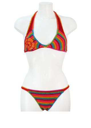 Multi Colour Striped Crochet Bikini with Sequin Floral Applique - M