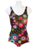 Vintage 70's Black Swimsuit with Multicoloured Floral Pattern - M