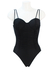 Black Swimsuit with Double Straps and Ruched Fabric Detail - M