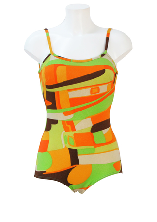 Vintage 70's Swimsuit with Green, Orange, White & Brown Geometric Pattern - M