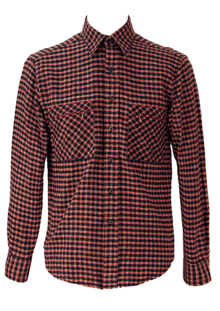 Navy Blue, Red and White Checked Flannel Shirt - M