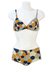 Vintage 60's Bikini with Blue, Ochre & White Polka Dot Pattern - M/L