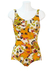 Vintage 70's White Swimsuit with Orange, Brown and Green Floral Pattern - M