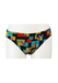Vintage 70's Swim Briefs with Blue, Ochre & Orange Geometric Pattern - S