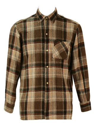 Woollen Brown, Cream & Russet Red Checked Flannel Shirt - L/XL
