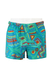 Blue Swim Shorts with Yellow, Green & Red Geometric Pattern - S/M