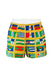 Yellow Swim Shorts with Blue, Green & Red Flags Pattern - M