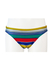 Swim Briefs with Yellow, Blue, Red, Green & Grey Striped Pattern - M