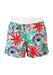 White Swim Shorts with Red, Blue, Green & Brown Tropical Palm Leaves - M