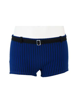 Vintage 60's Blue & Black Striped Swim Trunks with Black Belt - S/M