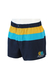 Navy Blue Swim Shorts with Yellow & Turquoise Stripes & Embroidered Nautical Detail - M