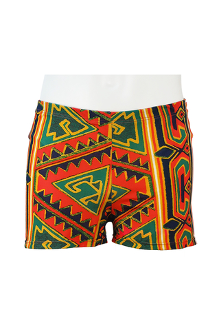 Fitted Swim Shorts with Red, Blue, Green & Yellow Tribal Pattern - M