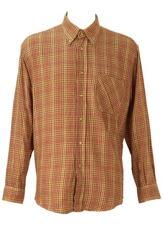 Dusty Pink, Brown & Beige Checked Flannel Shirt - XL/XXL