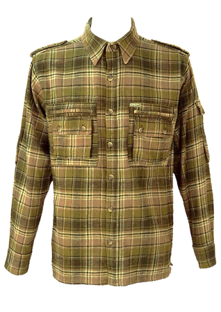 Green, Beige & White Checked Flannel Shirt - L/XL