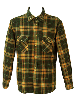 Green, Brown and Beige Checked Flannel Shirt - XL