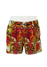 Batik Swim Shorts with Tribal Pattern in Red, Orange, Brown & White - M/L - New