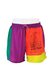 Purple Surf Themed Swim Shorts with Neon Yellow, Green & Orange Block Colours - M