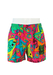 Pink Swim Shorts with Sharks & Stars Pattern in Neon Yellow, Orange & Green - M/L