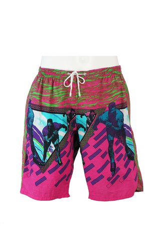 Pink & Green Swim Shorts with Rollerblading Men - M/L