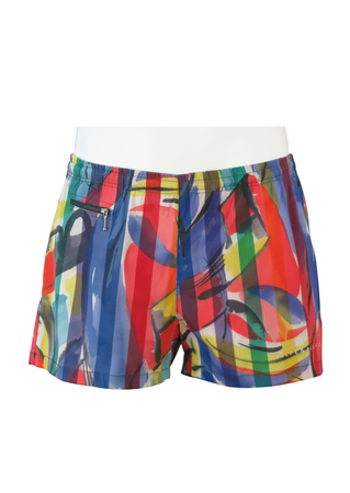 Belfe & Belfe Swim Shorts with a Multicoloured Striped Painterly Pattern - L/XL