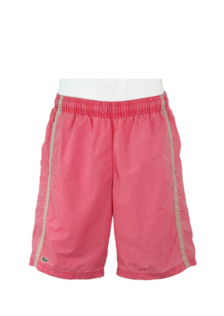 Lacoste Coral Pink Swim Shorts with Beige Side Stripes - M/L