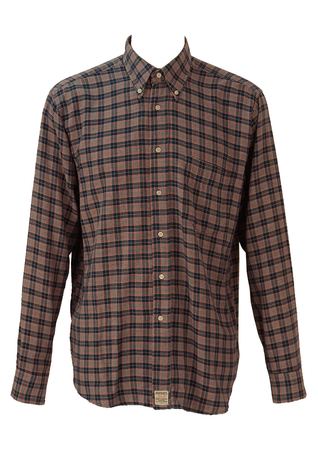 Flannel Shirt with Prince of Wales Check in Blue, Red & White - XL/XXL