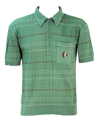 Vintage 60's Fern Green Zip Front Textured Polo Shirt with Fine Stripe Pattern - M