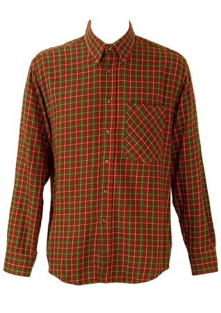Red, Green and Yellow Tartan Style Checked Flannel Shirt - L/XL