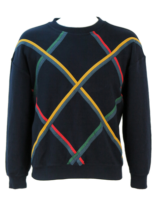 Navy Blue Pure Wool Sweatshirt with Yellow, Green & Red Criss Cross Pattern - M/L