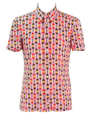 Vintage 60's Short Sleeved Jersey Fabric Pink Shirt with Red, Brown & Yellow Graphic Floral Pattern - M