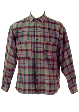 Flannel Shirt with a Purple, Green & Pink Check - L