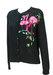 Black Loose Knit Cardigan with Intricate Sequin & Bead Pink Flamingo Pattern - M